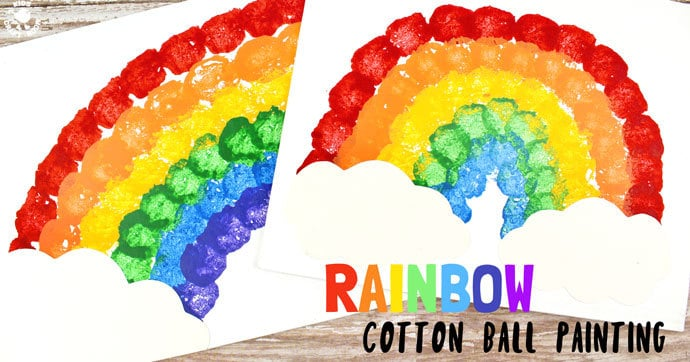 RAINBOW COTTON BALL PAINTING is lots of fun, looks amazing and develops kids motor skills and hand-eye co-ordination. Painting with cotton balls is exciting for kids and a great way to broaden their painting experiences away from just traditional brushes. #rainbow #kidsart #kidspaintingideas #stpatricksday #stpaddys #rainbowcrafts #kidspainting #springcrafts #springcraftsforkids #kidsactivities #kidscrafts #kidscraftroom #rainbows #cottonballpainting #painting #kids