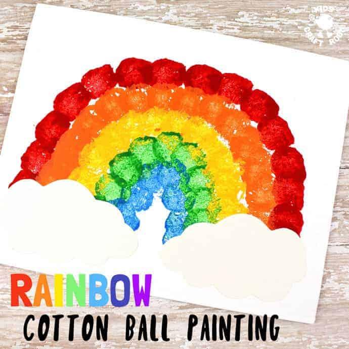 rainbow cotton ball painting kids craft room