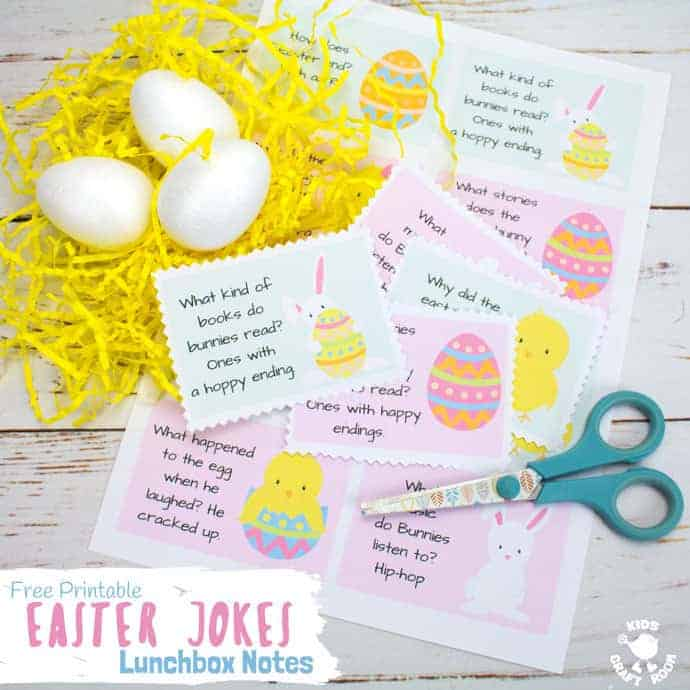 EASTER JOKES LUNCHBOX NOTES - Add some fun surprises to the Easter countdown with free printable Easter Joke Lunchbox Notes. With jolly pictures and family friendly jokes these are great for popping into lunchboxes, pockets and backpacks! #easter #jokes #lunchboxnotes #easterlunchboxnotes #easterjokes #backtoschool #printables #kidsactivities #freeprintables #lunch #kidslunchideas #kidscraftroom #easteractivities