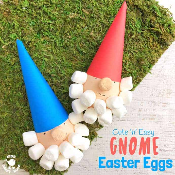CUTE 'N' EASY GNOME EASTER EGGS - If you're looking for an unusual and fun way to decorate your eggs this year then these Gnome Easter Eggs could be just what you're looking for! This Easter craft is lots of fun and a great excuse to crack open the mini marshmallows! #easter #eastercrafts #eggdecorating #eastereggs #decoratedeggs #gnomes #gnomecrafts #kidscrafts #craftsforkids #kidscraftroom #paintedeggs