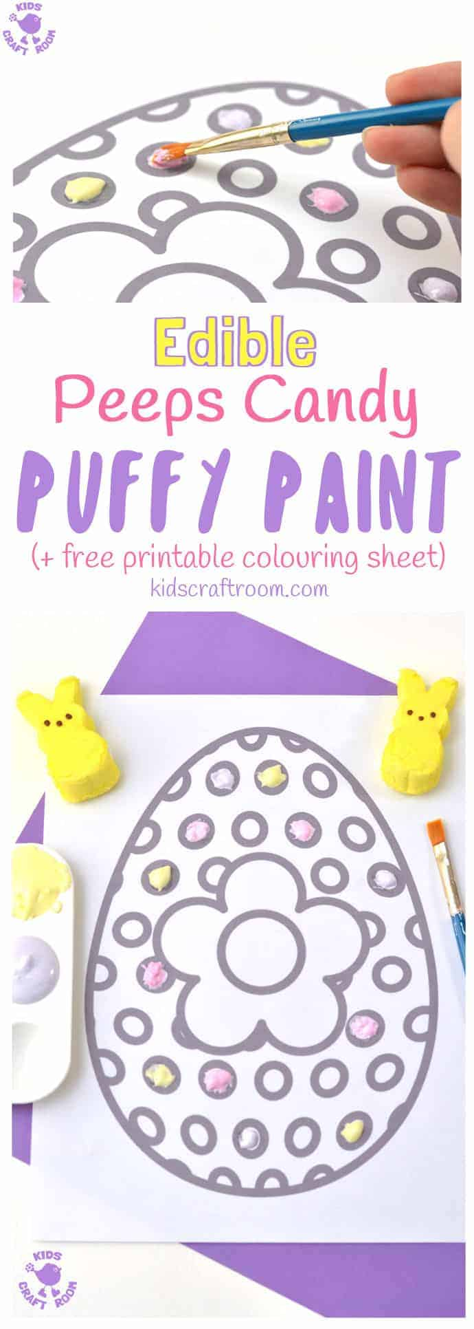 Here's a wonderfully easy Peeps Edible Puffy Paint Recipe you can make in just minutes. This homemade paint is fluffy and soft and comes in gorgeous pastel colours perfect for Spring and Summer art. Kids will have a finger licking good time getting creative with this fun and delicious sensory painting idea! #paintrecipe #painting #homemadepaint #ediblepaint #fingerpaintrecipe #puffypaint #puffypaintrecipe #easter #printables #kidsart #kidscraftroom #kidscrafts