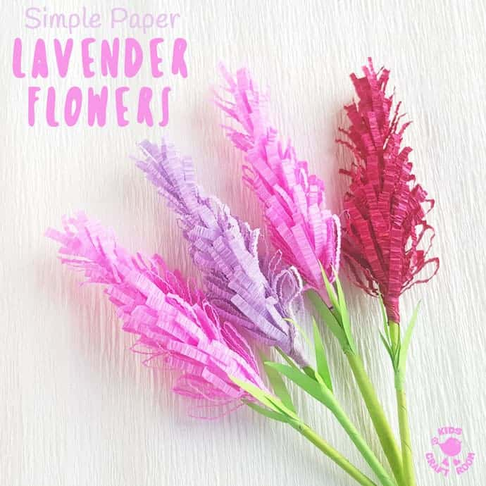 Have you tried making paper flowers? These gorgeous Lavender Flowers look so realistic and are surprisingly simple to make! They're perfect for Mother's Day, to stick to greeting cards or gifts and even for imaginative play! (We like to squirt them with perfume for little gardeners and florists to play with, so fun!) #mothersday #papercrafts #flowercrafts #kidscrafts #forkids #craftsforkids #springcrafts #summercrafts #lavender #lavendercrafts #flowers #homemadeflowers