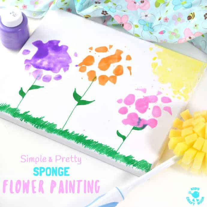 SPONGE FLOWER PAINTING - simple, easy and creates the prettiest flower pictures! This flower art is great for kids of all ages and is a wonderful way to celebrate Spring and Summer. Make wall art, greeting cards or gorgeous Mother's Day gifts, these painted flowers won't fail to delight. #flowers #flowercrafts #flowerart #kidsart #kidspainting #paintingforkids #paintingideas #paintingtechniques #artforkids #kidscrafts #craftsforkids #kidscraftroom #springcrafts #summercrafts