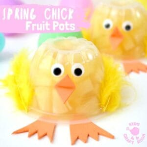 Spring Chick Fruit Cups - a healthy treat your kids will love! They're easy to make and such a fun way to celebrate Spring and Easter. Chick fruit pots work really well as a non-candy Easter basket idea and you can pop them into lunchboxes too. A great way to encourage kids to get one of their daily portions of fruit. #easter #eastercrafts #eastertreats #kidscrafts #craftsforkids #healthyfood #easterparty #chicks #chickcrafts #easterchicks #fruitcups #fruits #springcrafts