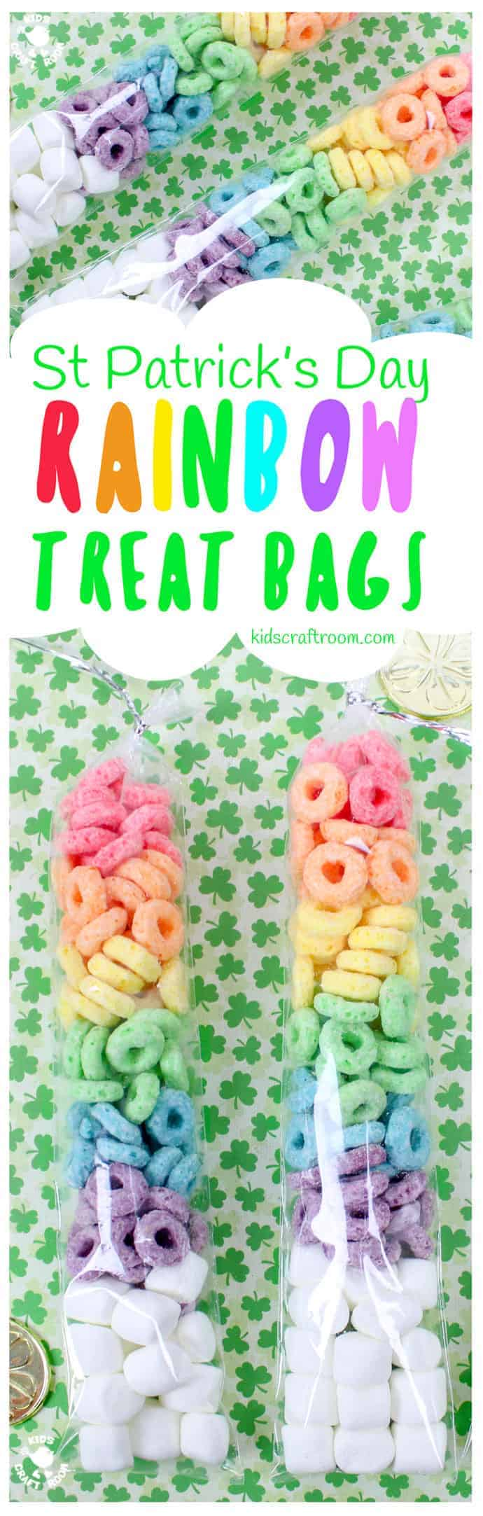 ST PATRICK'S DAY RAINBOW TREAT BAGS - need a quick and easy rainbow activity for the kids? These St Patrick's Day Rainbow Treat Bags are simple and fun to make and a lovely thrifty gift idea to share with friends too. Great if you need St Patrick's Day treats for a whole class and don't want to break the bank! #StPatricksDay #StPaddys #Rainbow #StPatricksDayCrafts #kidscrafts #rainbowcrafts #cookingwithkids #treats