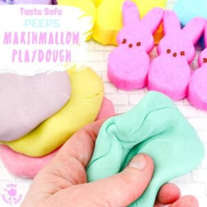 Kids will have hours of fun with this Taste Safe Peeps Marshmallow Play Dough. It's fluffy and soft, smells good and the colours are gorgeous pastels. A truly multi sensory play experience for kids of all ages. #sensoryplay #ECE #Easter #sensory #playdough #playdoughrecipe #edibleplaydough #playdoh #playdohrecipe #easteractivities #kidsactivities #peeps #kidscraftroom #sensory #preschool #earlyyears #playideas