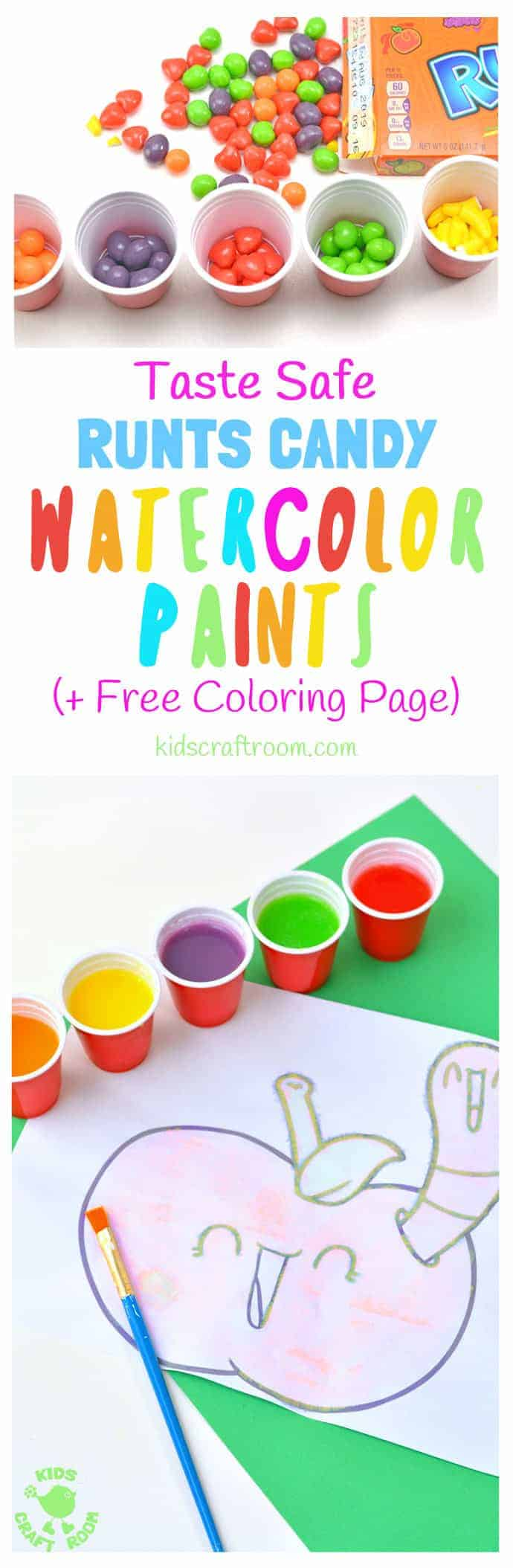 Have you tried making your own paints before? This Runts Watercolor Paint Recipe is really easy and fun to make. It's fruity, colorful, taste safe and there's a printable apple coloring sheet too. What a fun way to enjoy some fruit themed sensory art! #apples #painting #kidspainting #kidsart #ediblepaint #kidscrafts #kidsactivities #kidscraftroom #backtoschool #applecrafts #sensory #sensoryplay #tastesafe
