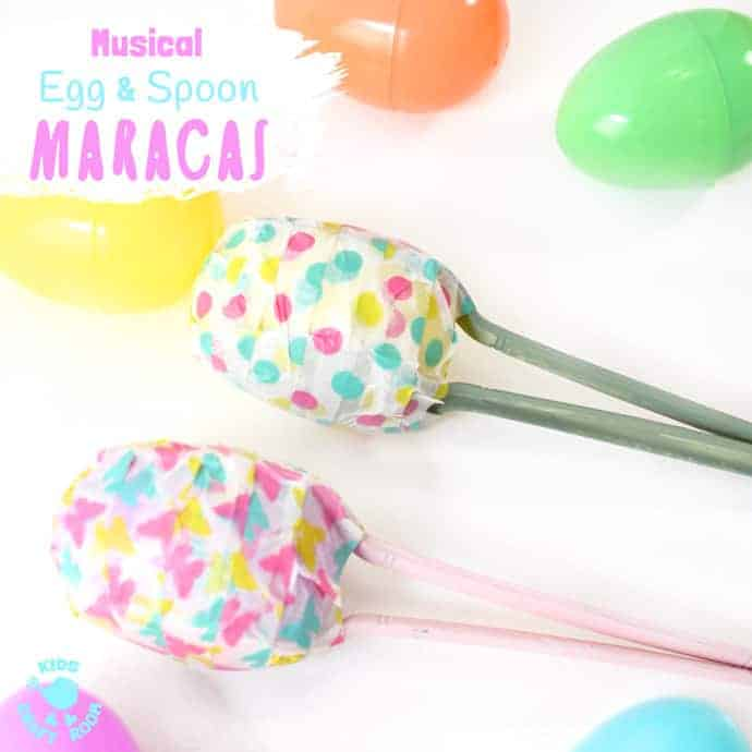 EASY AND FUN EASTER EGG MARACAS - Kids will love learning how to make egg shakers and making their own music! It's a simple Spring craft for all ages and a great way to encourage listening skills, music and movement! #easter #eastercrafts #maracas #eggshakers #shakers #eggmaracas #homemadeinstruments #music #musicforkids #diymaracas #kidscrafts #craftsforkids #kidscraftroom #easteractivities #springcrafts #springactivities
