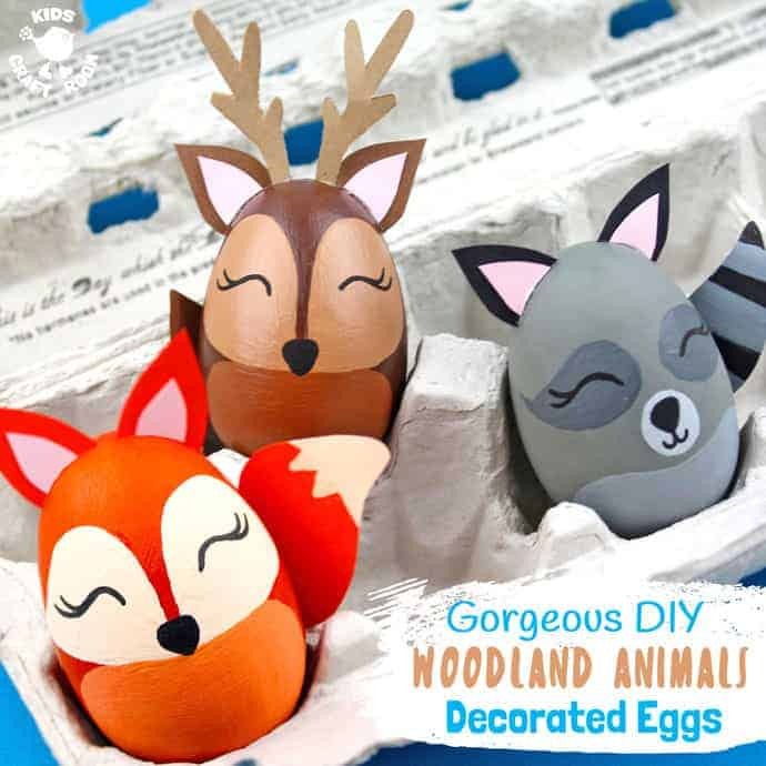 WOODLAND ANIMAL DECORATED EGGS - If you're looking for some special Easter egg decorating ideas then these Gorgeous Woodland Animal Easter Eggs are perfect. This set of Easter egg animal designs look amazing and are surprisingly easy to make. There's a stunning egg fox, raccoon and deer, all so adorable! #Easter #eastereggs #woodlandanimals #eggs #eastercrafts #easterdecorations #paintedeggs #animalcrafts #kidscrafts #easterideas #easteractivities #forestanimals #eggdecorating