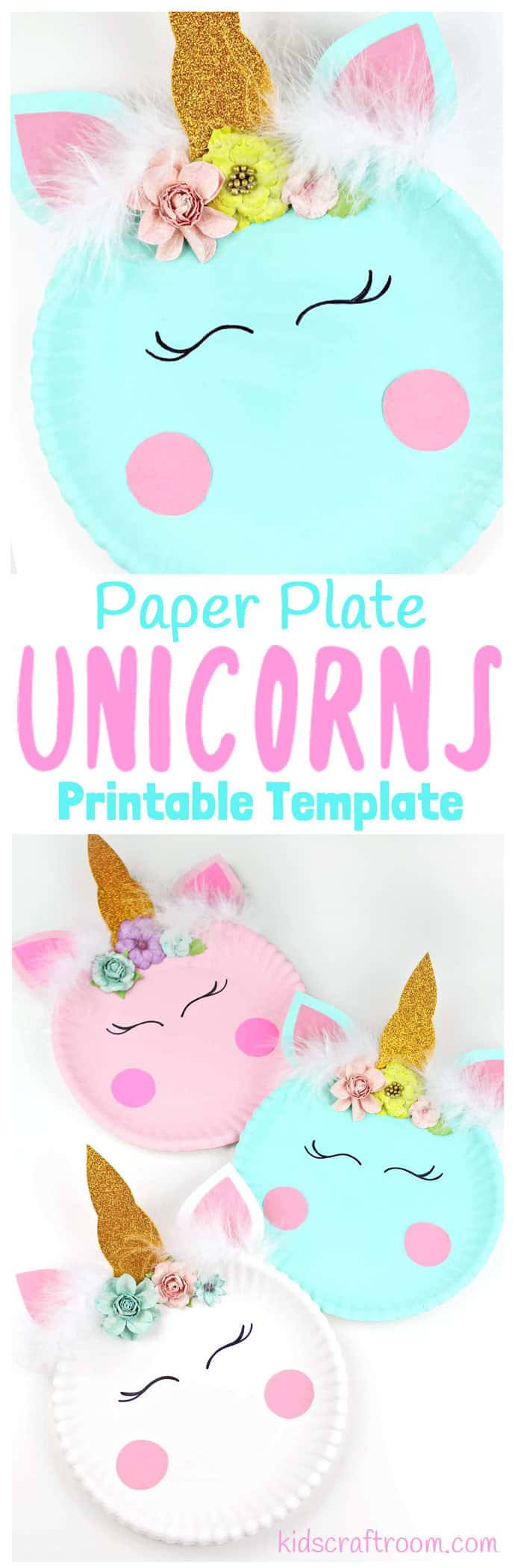 Have your kids been hit with the unicorn frenzy? We just love them! Bring some magic to your craft sessions with this super simple Paper Plate Unicorn Craft. These unicorns look so pretty your big kids will love them but they're simple enough for your preschoolers and toddlers to enjoy too. We've even got a free printable template to make it even easier! #unicorn #unicorns #unicorncrafts #paperplatecrafts #kidscrafts #craftsforkids #kidscraftroom #printable #crafts