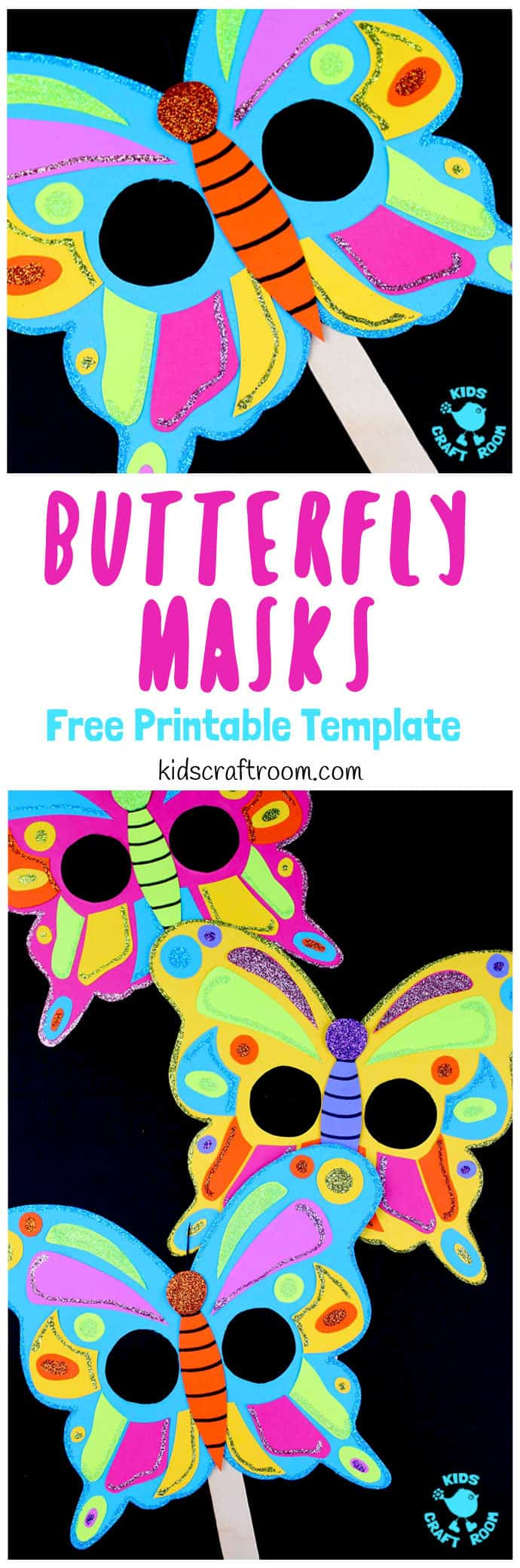 Are your kids fascinated by the butterfly lifecycle? These Colourful Butterfly Masks are a fantastic way to celebrate the wonder of butterflies and engage children in learning all about them. They're easy to make with our free printable template and a fun way to introduce children to symmetry and pattern making too. #butterflies #butterflycrafts #masks #kidscrafts #papercrafts #printables #craftsforkids #kidscraftroom #summercrafts #springcrafts #insectcrafts #kidsactivities #butterfly