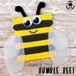 POPSICLE STICK BEE CRAFT - Here's something to get you buzzing! These bumble bees are easy to make and adorable. With vibrant yellow and black stripes and cleverly made translucent wings they look quite the buzziness! This is such a lovely bee craft for Spring and Summer. #bee #beecrafts #beecraft #kidscrafts #craftsforkids #kidscraftroom #popsiclesticks #posiclestickcrafts #bees #bumblebees #insects #insectcrafts