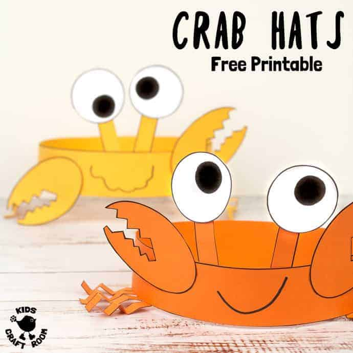 Astounding Free Printable Crab Hats Craft Template Kids Craft Room Home Remodeling Inspirations Cosmcuboardxyz