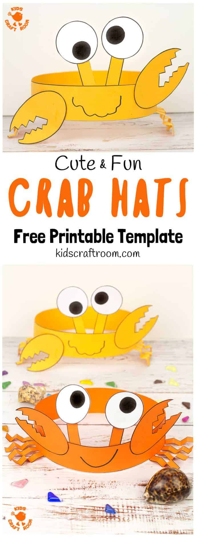 Whether you're heading to the beach or playing with sand and water at home, you'll want to make Cute And Fun Crab Hats! These homemade crab headbands are simply adorable and easy to make with our free printable template. Don't you just want to see the whole family wearing them right this instant?  So cute, so fun! #kidscrafts #crabs #crabcrafts #beachcrafts #oceancrafts #hats #headbands #printables #freeprintables #craftsforkids #summercrafts #kidscraftroom