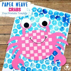 PAPER WEAVING CRAB CRAFT - Do your kids enjoy visiting the beach? We do and searching for crabs is one of our all time favourite things to do when we get there! Whether your kids are lucky enough to meet a crab in the flesh or whether they just enjoy reading about them this Paper Weaving Crab Craft is a must for Summer! (Free Printable Template) #summercrafts #crabs #papercrafts #paperweaving #weaving #kidscrafts #craftsforkids #crab #preschool #kidscraftroom