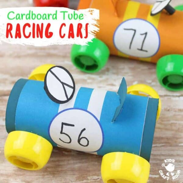 Do you like to recycle trash into cute crafts? Then you'll love this Cardboard Tube Racing Car Craft! With our free printable wrap around covers it's easy to give your cars handsome sporty stripes! #cardboardtubes #cars #carcrafts #cardboardtubecrafts #printables #freeprintables #racingcars #TProllcrafts #TProlls #papertubes #car #kidscrafts #craftsforkids #kidsactivities #preschool #recycled #recycledcrafts