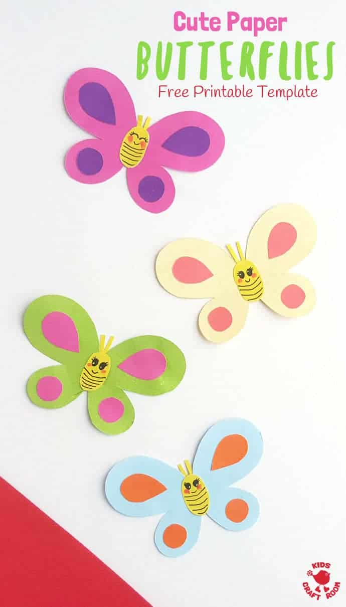 picture relating to Free Printable Paper Crafts named Adorable Paper Butterfly Craft - Young children Craft Place