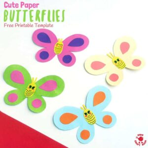CUTE PAPER BUTTERFLY CRAFT - Simple crafts can be so effective and versatile and this Cute Paper Butterfly Craft is just that! Use our free printable template to make one, two or a whole swarm of adorably cute and pretty butterflies! Glue them to craft sticks for puppets, hang as a mobile or display on the wall. So versatile!