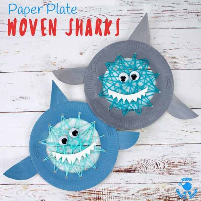 Paper Plate Shark Sewing Craft