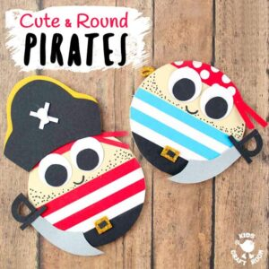 CUTE ROUND PIRATE CRAFT - Shiver me timbers this pirate craft idea is easy to make and looks fantastic. Make a pirate captain or members of the crew. Each is adorable with their nautical stripes and shiny cutlasses! A fantastic Summer kids craft and perfect for International Talk Like a Pirate Day too! #pirate #pirates #talklikeapirate #kidscrafts #piratecrafts #Summercrafts #oceancrafts #kidsactivities #kidscraftroom