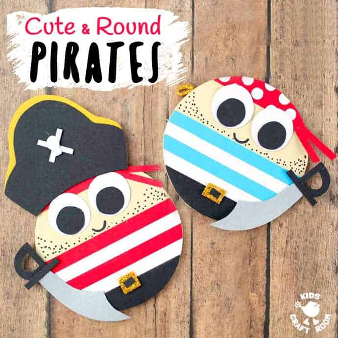 CUTE ROUND PIRATE CRAFT - Shiver me timbers this pirate craft idea is easy to make and looks fantastic. You can make a pirate captain or members of the crew and each is adorable with their nautical stripes and shiny cutlasses! A fantastic Summer kids craft and perfect for International Talk Like a Pirate Day too! #pirate #pirates #talklikeapirate #kidscrafts #piratecrafts #Summercrafs #oceancrafts #kidsactivities #kidscraftroom