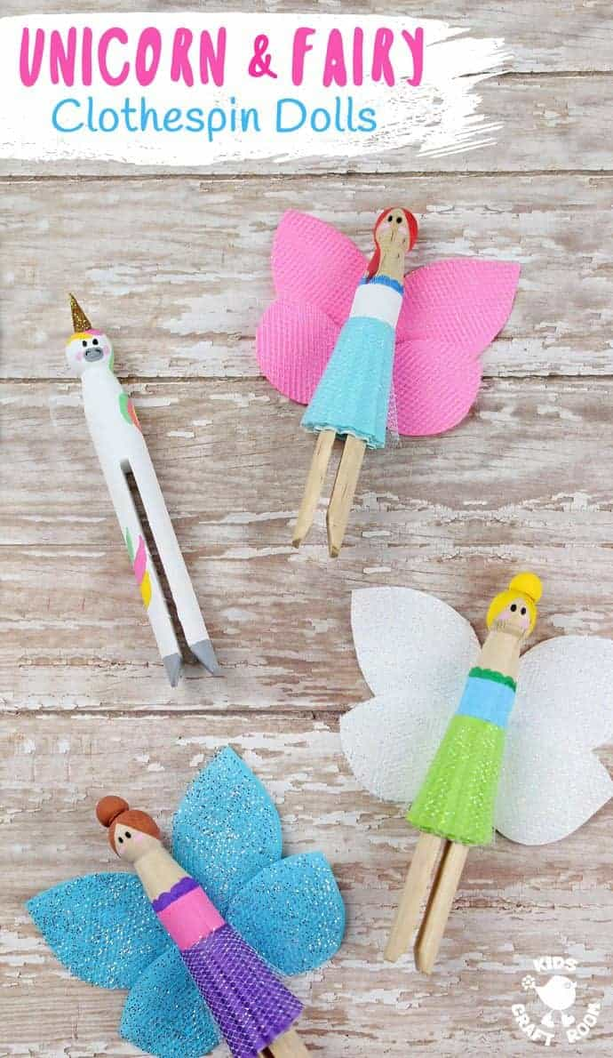 Fairy and Unicorn Clothespin Dolls are a delightful spin on traditional peg dolls! Simple to make and quite magical! Everyone will love these pocket sized homemade dolls to play with.