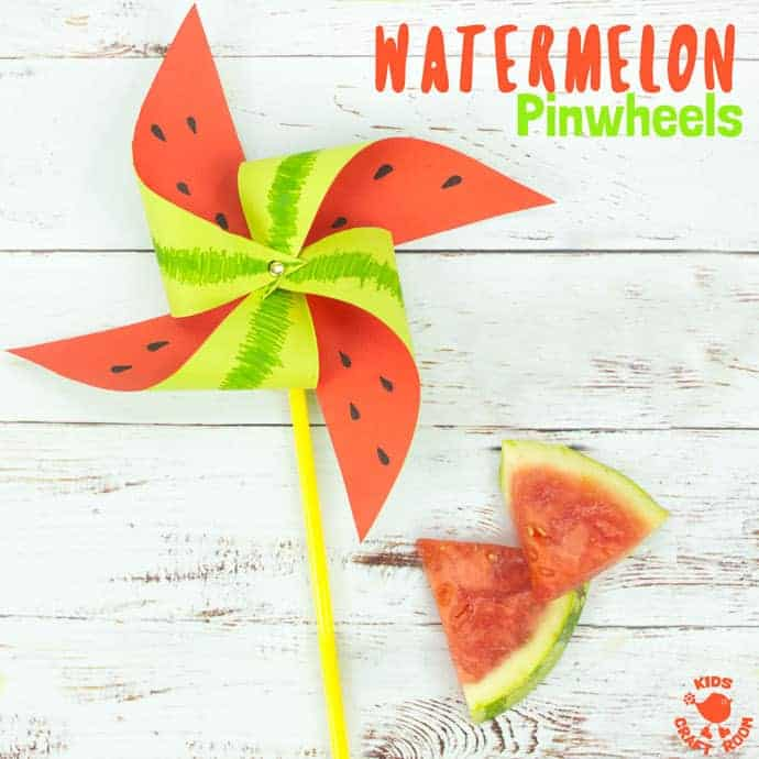WATERMELON PINWHEELS - This colourful watermelon pinwheel craft is so quick and easy to make. They're great for kids to play with and make gorgeous Summer party decorations too. What a fun and fruity way to add a splash of colour! #pinwheels #windmills #watermelons #papercrafts #kidscrafts #craftsforkids #homemadetoys #summercrafts #kidsactivities #origami #kidscraftroom #watermelon #pinwheel