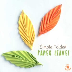 Want to know how to make Folded Paper Leaves quickly and easily? These homemade leaves are so simple and so versatile! Perfect for all sorts of art and craft projects and for homemade decor too. #leaves #leaf #paperleaves #origami #origamileaves #papercrafts #Falldecor #Fallcrafts #Autumn #Autumncrafts
