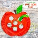 This Paper Plate Apple Lacing Craft is adorable with the cutest worm for kids to thread in and out! A fabulous interactive apple craft and fun way to build fine motor skills. A simple Fall craft for kids that's fun and educational. #apples #apple #paperplatecrafts #applecrafts #appleactivities #motorskills #finemotorskills #threading #lacing #lacingcrafts #kidscrafts #preschoolcrafts #kidsactivities #kidscraftroom