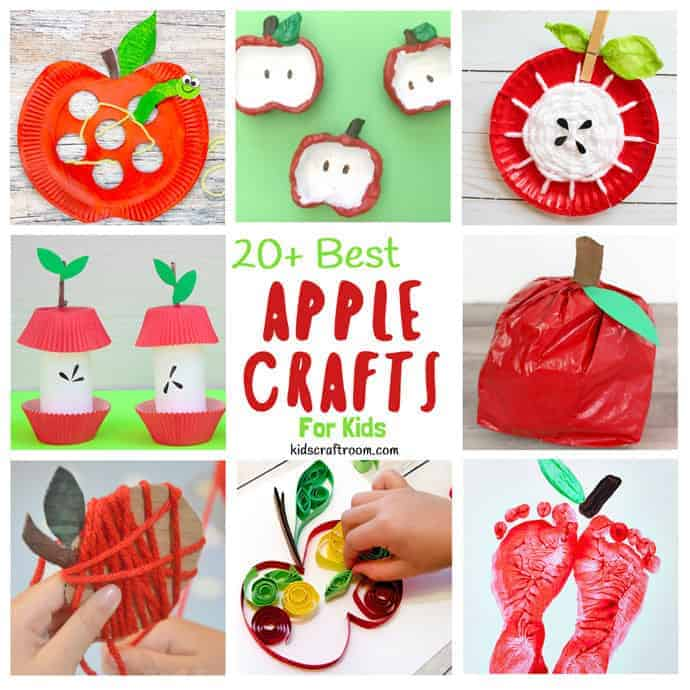 24 BEST APPLE CRAFT FOR KIDS TO MAKE - Here's a collection of fun and easy apple crafts to enjoy this Fall. Each of these simple apple craft ideas use supplies you've probably got already. Happy apple season!  #apple #apples #applecrafts #applecraftideas #kidscrafts #craftsforkids #Fall #Fallcrafts #Autumncrafts #kidscraftroom