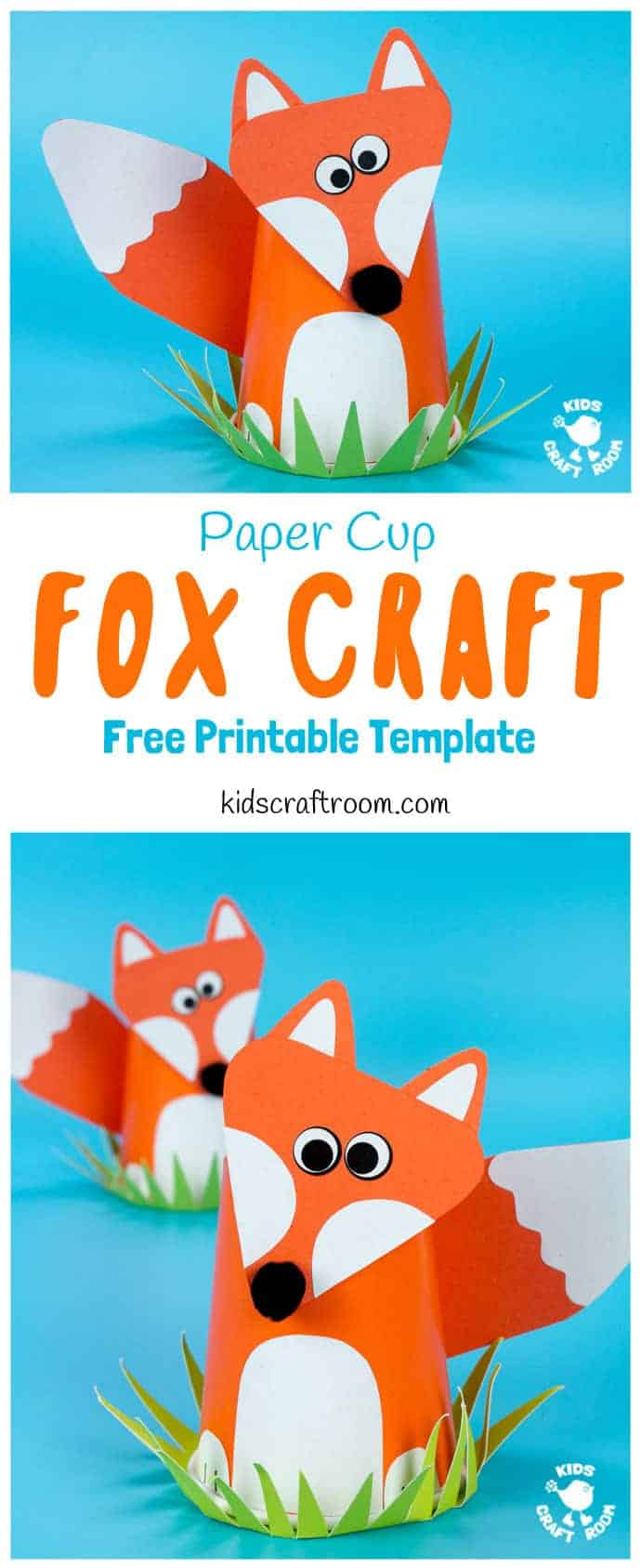 CUTE PAPER CUP FOX CRAFT FOR KIDS. Fox crafts are so fun and this paper cup craft is easy to make with the free printable fox craft template. Such a fun woodland animal craft. #fox #foxcraft #foxcrafts #foxes #papercups #papercup #papercupcrafts #woodlandanimals #animalcrafts #woodlandanimalcrafts #kidscrafts #kidcraft #freeprintable #printable #printabletemplates