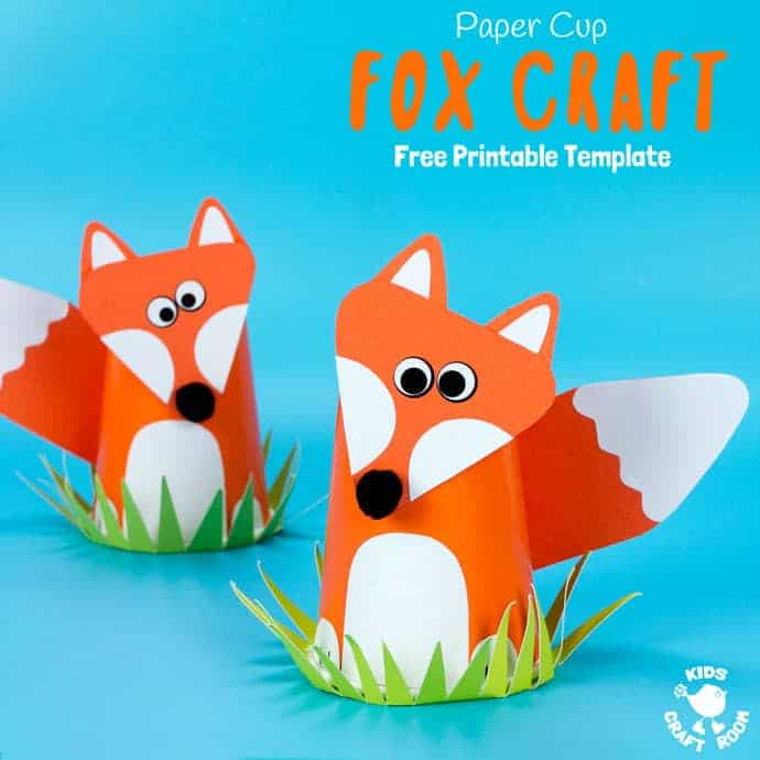 graphic relating to Free Printable Woodland Animal Templates named Totally free Printable Paper Cup Fox Craft Template - Young children Craft Area