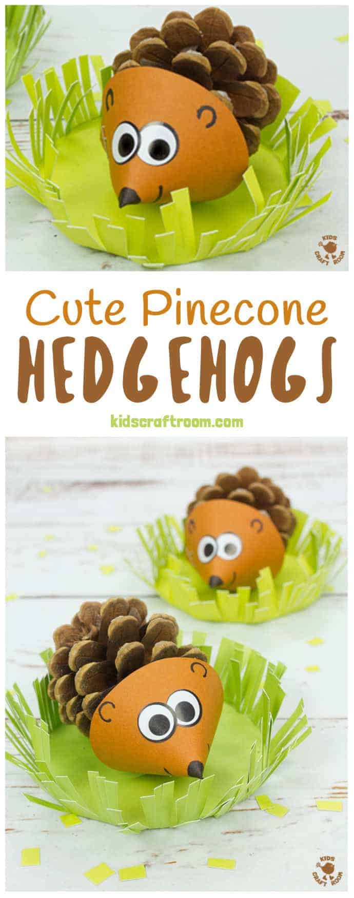 PINECONE HEDGEHOG CRAFT Do your kids like collecting pinecones? Turn them into adorable pinecone hedgehogs! These little hedgehogs sit in a grassy home where they can snuffle around for their dinner! We think these are the cutest pinecone animals ever! Such a lovely Fall craft for the kids. #pinecone #pinecones #hedgehog #hedgehogs #hedgehogcrafts #pineconecrafts #naturecrafts #Fallcrafts #Autumncrafts #Fall #Autumn #kidscrafts #kidscraft #craftsforkids