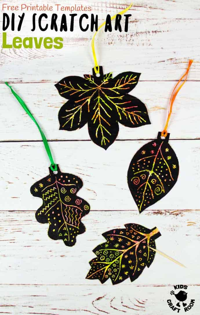 DIY SCRATCH ART LEAVES are gorgeous! This Fall craft is easy to make with our free printable templates and so colourful and vibrant! A lovely leaf art idea for Fall and Thanksgiving. #Fall #Fallcrafts #Autumn #Autumncrafts #Fallart #kidsart #artideas #leaves #leaf #scratchart #leafart #leafcrafts #kidscrafts #kidscraft #craftsforkids #kidscraftroom