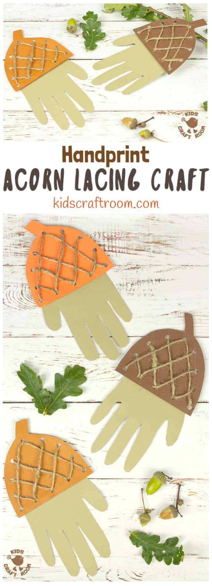 How adorable is this Handprint Acorn Lacing Craft? Acorn crafts are perfect for Autumn and this handprint acorn lets children lace and thread a textured acorn cap all the while building their fine motor skills in a fun way. A lovely lacing activity for preschoolers. #acorn #acorns #acorncrafts #kidscrafts #lacingcraft #lacing #threading #finemotorskills #Fallcrafts #Autumncrafts #handprint #handprintcrafts #Fall #Autumn #lacingactivity #kidsactivities #lacingactivity via @KidsCraftRoom