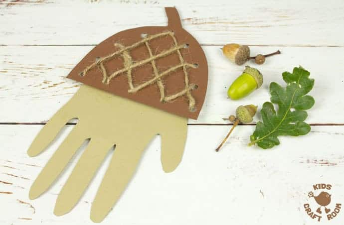 Handprint Acorn Craft - Lacing Activity