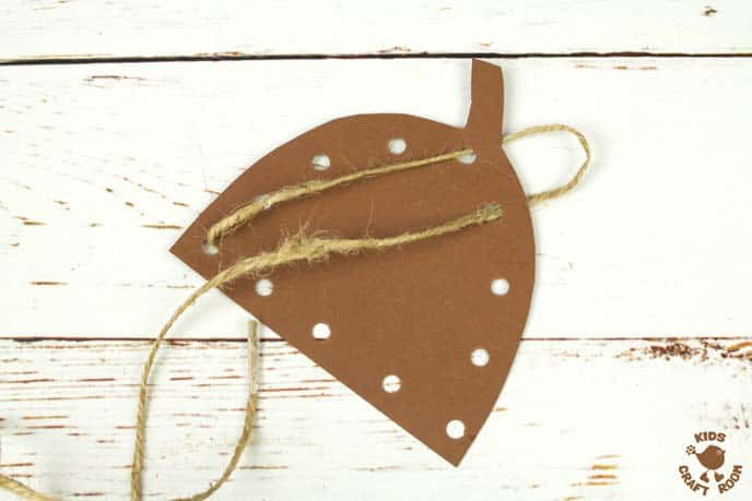 Handprint Acorn Craft - Lacing Activity Step 5