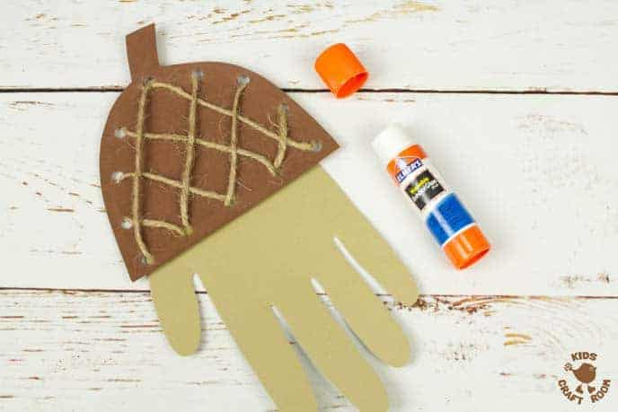 Handprint Acorn Craft - Lacing Activity Step 9