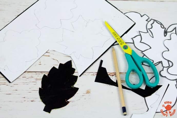 Fall Leaf Art Using Scratch Art Method step 6