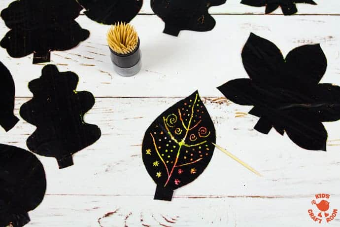 Fall Leaf Art Using Scratch Art Method step 7