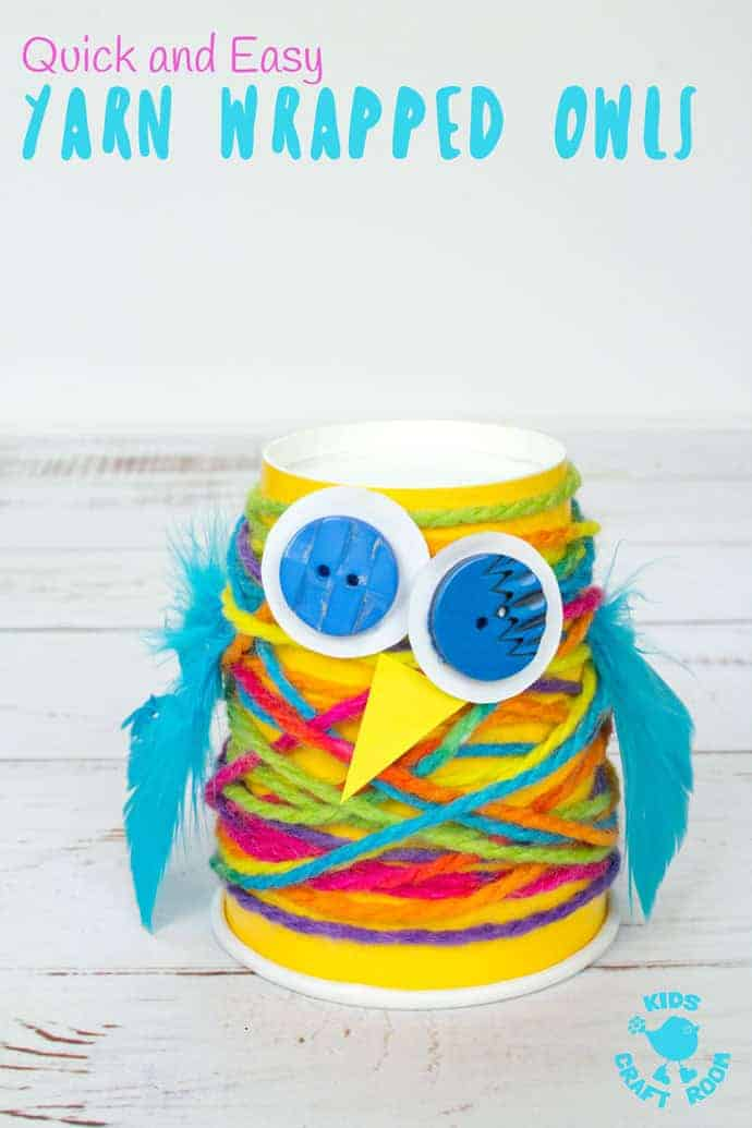 PAPER CUP YARN WRAPPED OWLS - Want an easy preschool owl craft? These Paper Cup Owls are a hoot! Cute, colourful, fun and great for fine motor skills. Owl crafts are such a fun fall craft idea for kids. #owls, #owl #owlcrafts #owlcraft #kidscraft #kidscrafts #fall #fallcrafts #fallcraft #autumn #autumncrafts #autumncraft #papercups #papercupcrafts #yarn #yarnwrapped #yarncrafts #kidscraftroom