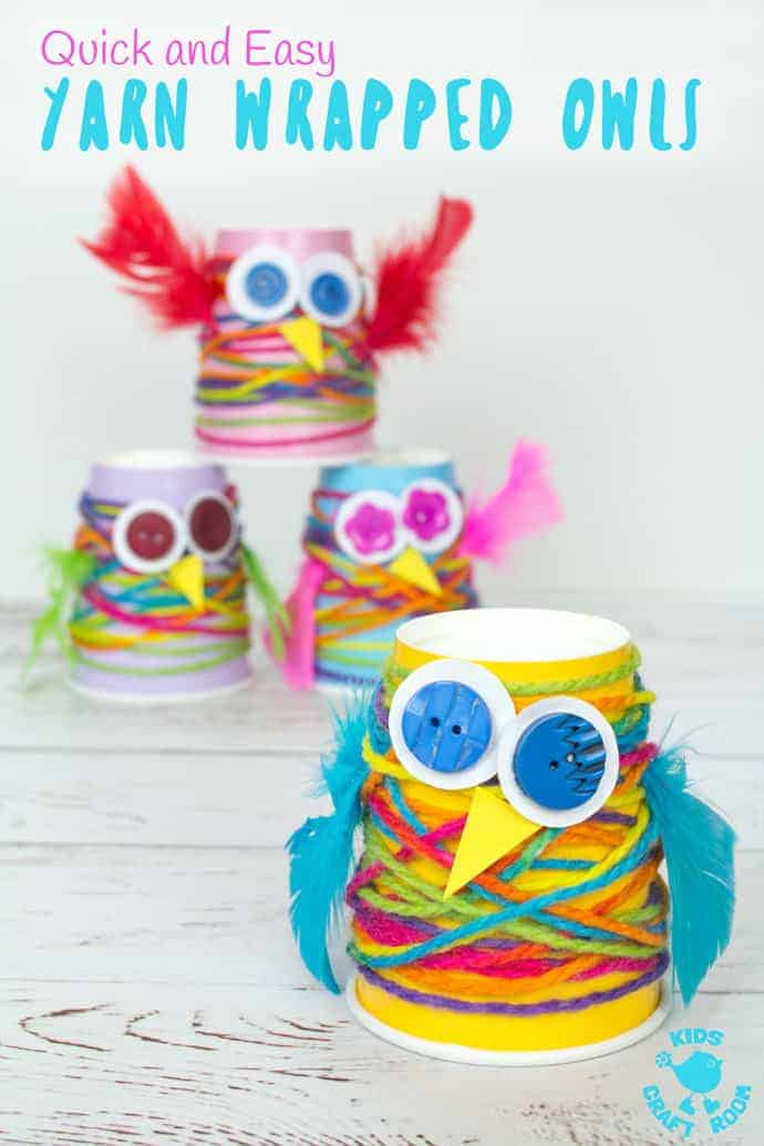 Paper Cup Yarn Wrapped Owl Craft Kids Craft Room