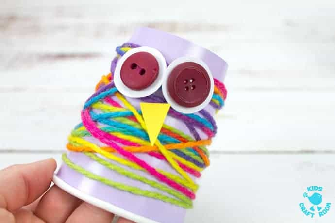 Step 3 Paper Cup Yarn wrapped Owl Craft