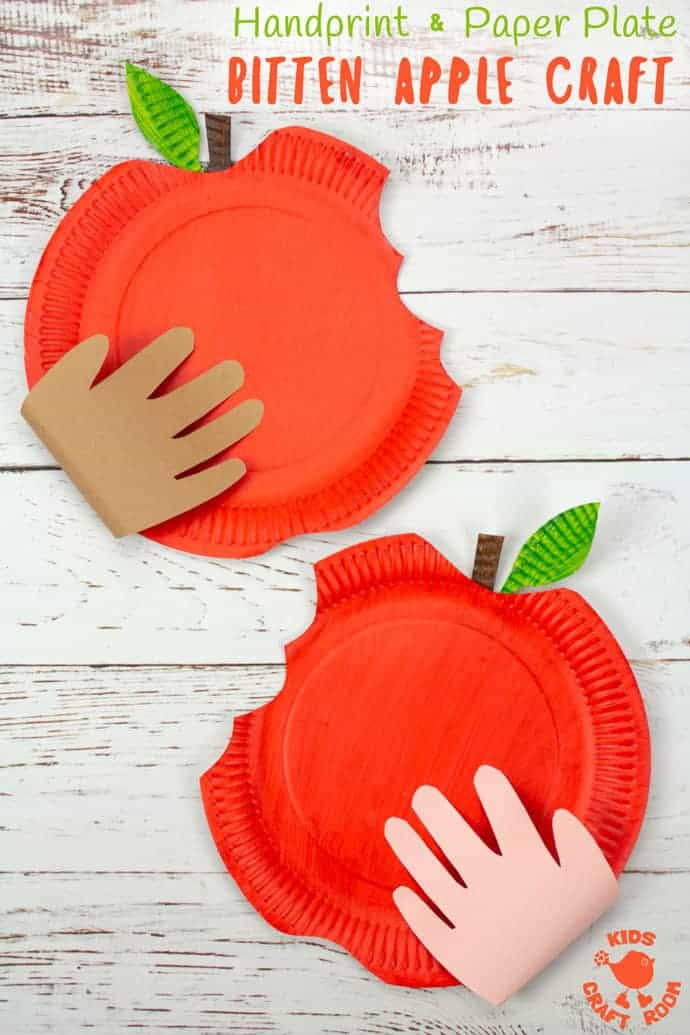 HANDPRINT AND PAPER PLATE BITTEN APPLE CRAFT - This easy apple craft for kids is so fun to make this apple season. Who could resist taking a bite out of a big red juicy apple like that? A fun Fall craft to celebrate harvest time. #apple #apples #applecrafts #paperplatecrafts #handprintcrafts #paperplates #handprints #kidscrafts #Fallcrafts #Autumncrafts #Harvest #harvestcrafts #craftsforkids #kidscraft #kidscraftroom