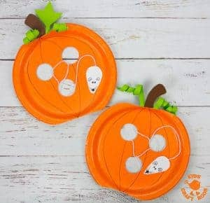 Paper Plate Pumpkin Lacing Craft