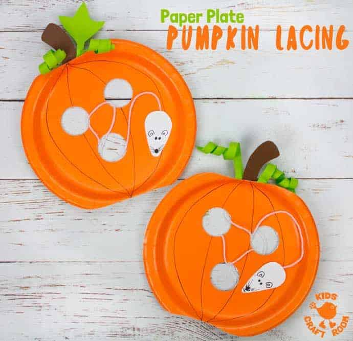 This Paper Plate Pumpkin Lacing Craft is loads of fun! Kids will love lacing the mouse through the holes in the pumpkin that the cheeky fellow has nibbled! An interactive paper plate pumpkin craft for toddlers and preschoolers. A fun non scary Halloween craft for kids. #halloween #halloweencrafts #pumpkins #pumpkincrafts #kidscrafts #craftsforkids #kidscraft #fallcrafts #autumncrafts #paperplates #paperplatecrafts #kidscraftroom
