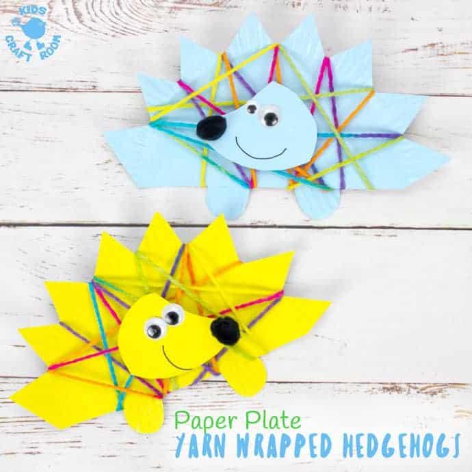 Yarn Wrapped Paper Plate Hedgehog Craft