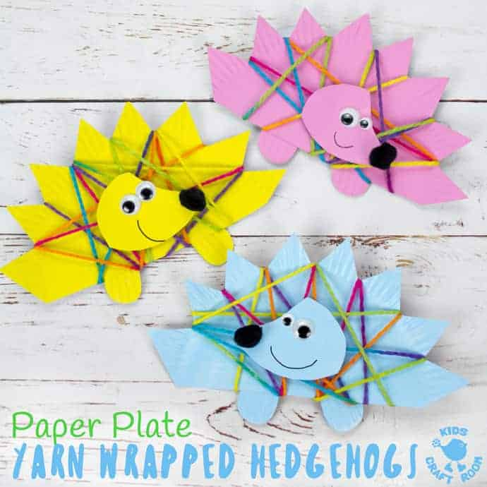 Yarn Wrapped Paper Plate Hedgehog Craft Kids Craft Room