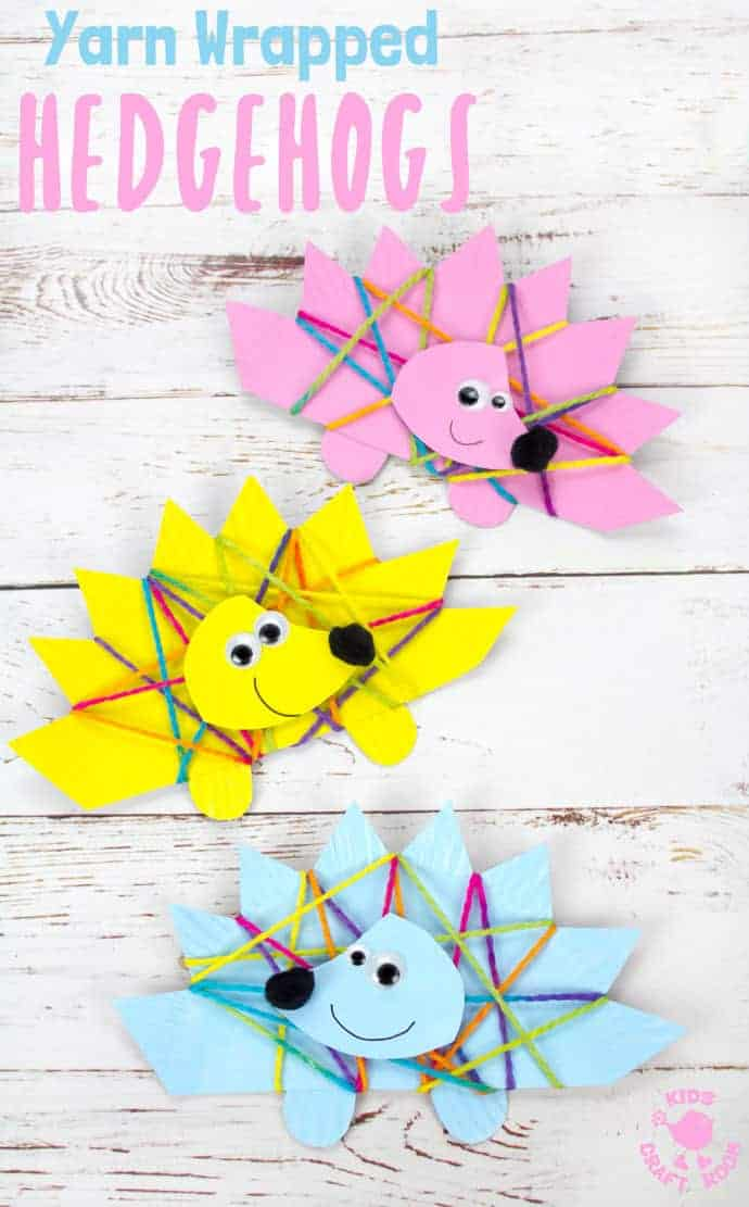 This Yarn Wrapped Paper Plate Hedgehog Craft is sweet, colourful and fun. An adorable Fall craft for preschoolers and great for building fine motor skills! Aren't hedgehog crafts adorable! #hedgehogs #hedgehog #hedgehogcrafts #hedgehogcraft #fallcrafts #autumncrafts #kidscrafts #paperplatecrafts #yarn #yarnwrapping #yarncrafts #kidsactivities #kidscraftroom