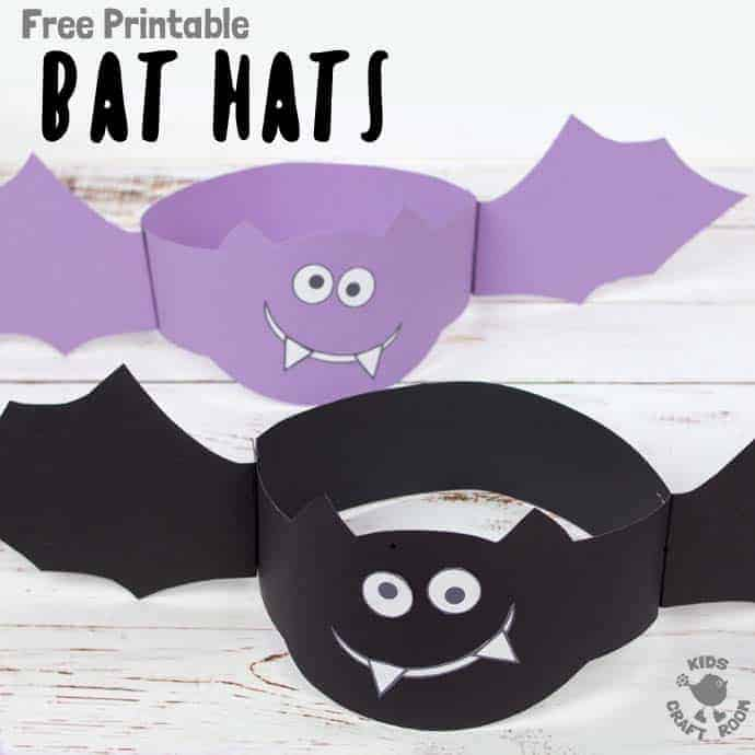 How fun is this Free Printable Bat Hat Craft? These bat crafts are so easy to make and great for Halloween. Don't be batty pick up your free printable template today! A Halloween craft for kids to sink their fangs into! #bat #bats #halloween #halloweencrafts #halloweenkids #halloweencostumes #costumediy #hat #kidscrafts #craftforkids #kidscraft #batcostume #printable #kidscraftroom #halloweenparty